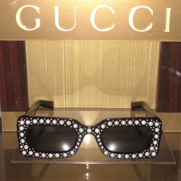 3248939cb0 Gucci Accessories - Gucci Rectangular acetate sunglasses with pearls